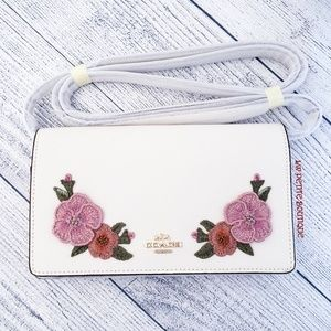 Coach Floral Embroidered Foldover Crossbody